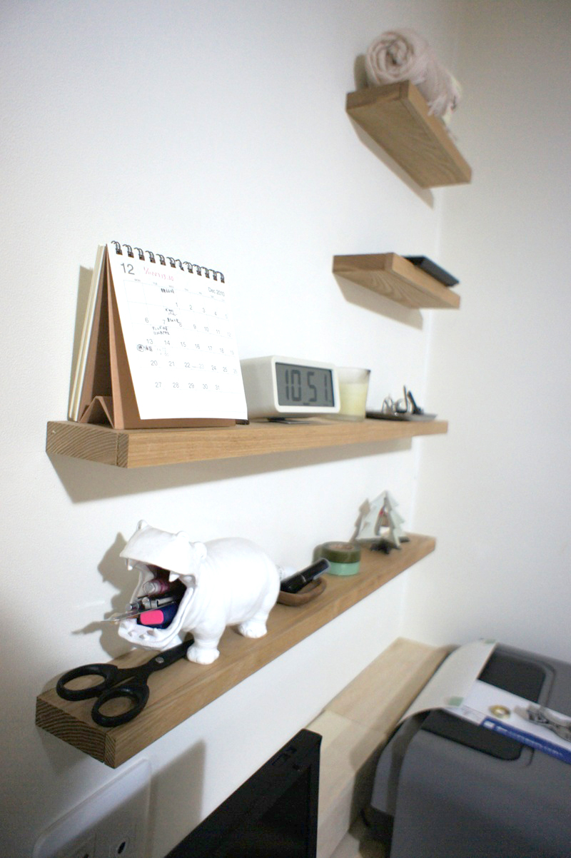壁付けの棚をDIY。